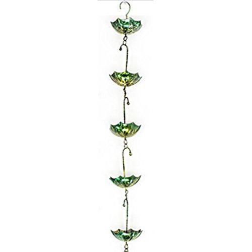 Regenkette Metall Garten-Dekoration Regenschirm-Hänger grün. Von Haus der Herzen®