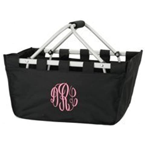 Personalized Market Tote - Color: Black, Monogram: Master Circle Initials / Hot Pink by Ababy