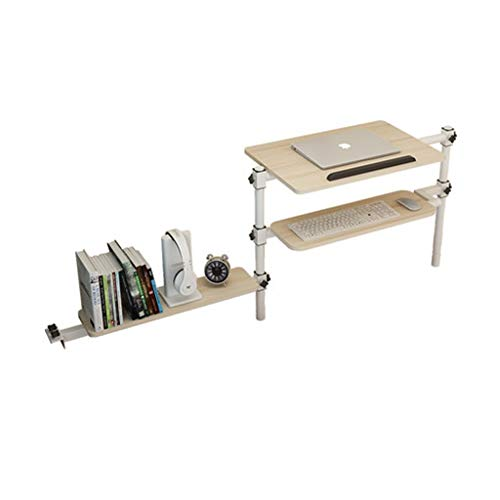 Llsdls Outdoor Camping Tisch Laptop Tisch Faltbare antike Eiche Schreibtisch höhenverstellbar, Push-Pull 60x40 cm - Picknick-tische Eiche