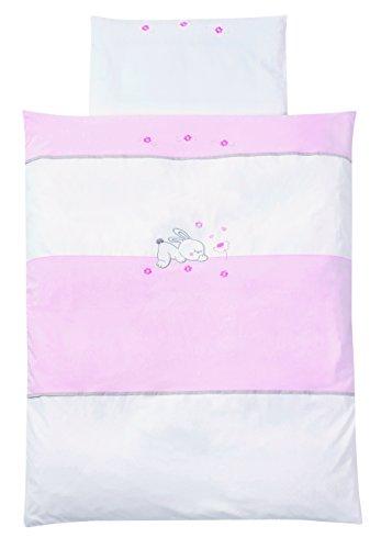 Easy Baby 815-38 Parure de lit avec broderie de qualité motif Rabbit, 80/80 Plus 35/40, Rose