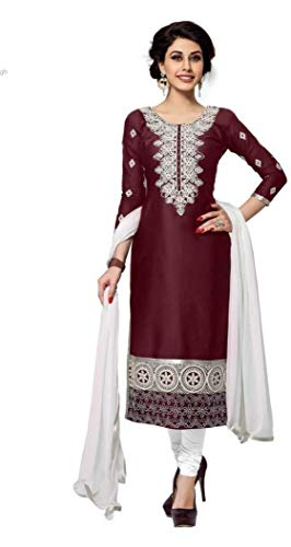DnVeens Cotton Embroidered, Embellished Salwar Suit Dupatta Material (Unstitched) for Womens (Girls Embellished Dress)
