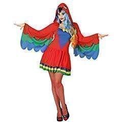 i, Damenkostüm, Größe 38/40, bunt (Papagei Kostüm Für Erwachsene)