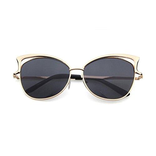 Damen Klassisch Sonnenbrille,Ronamick Art und Weisekatze Ohr Sonnenbrille Metallrahmen Brille (Grau)