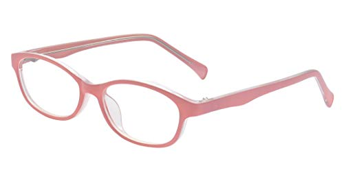 ALWAYSUV Rechteckig Klare Gläsern Optische Stärke Rahmen Brillenfassung Nerd Brille für Kinder von 3 bis 12 Jahre Rosa