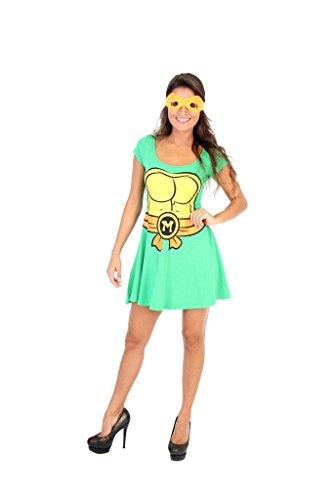 Produktbild Teenage Mutant Ninja Turtles Michelangelo Kostüm Skater Dress (Damen X-Large)