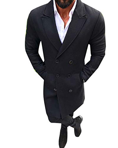 CuteRose Men's Double-Breasted Slim Fit Overcoat Woolen Mid Long Outwear Coat Black M Mens Double Breasted Trench Coat