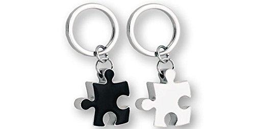 Llavero Doble metal diseño Puzzle. Blanco/Negro. 2 unidades.