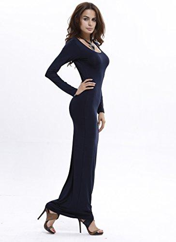 Moollyfox Femmes Élégant Manches Longues Col Rond Longue Robe Bleu Foncé