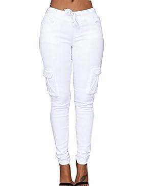 Juleya Mujer Pantalones Lápiz - Color Sólido Cintura Elástico Leggings con Cordón Moda Cintura Media Bolsillos...