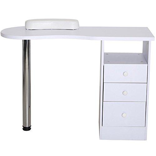 Warmiehomy Maniküretisch, stabiler Nageltisch mit ausziehbarer 3 Schublade professionelle Maniküretisch mit abnehmbarer Handauflage für Schönheitssalon studio, Weiß - Moderne Holz-finish Tisch