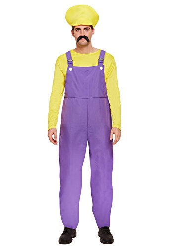 Henbrandt Herren Super Klempner Bros Kostüm - Gelb (Wario Kostüm Für Herren)