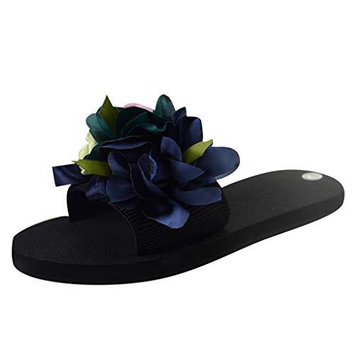 COZOCO Damen Freizeitschuhe Bohemian Flower Flache Hausschuhe Sommer Sandalen rutschfeste Strandschuhe(blau,39 EU)