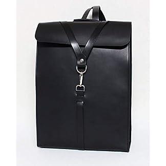 Mochila para portátil de cuero, para hombre, bolso viaje para ordenador, negro