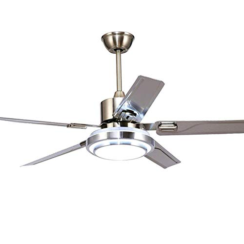 Fuskang ventilatori da soffitto a 5 pale con luci telecomando ventilatore a soffitto a risparmio energetico in acciaio inox reversibile a led (42 pollici)