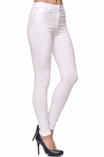 Elara Damen Stretch Hose Skinny Fit Jegging Chunkyrayan H13 White 36 (S)