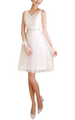 Brinny Sexy V-Cou Dentelle Femme Mini-Robe demoiselle d'honneur Robe de mariage de Soirée Cocktail faux diamante Tutu Robe Jupe Blanc