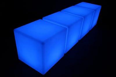 4x point-garden Leuchtwürfel LED Farbwechsel 40cm Lampe Würfel Sitzwürfel Akku FB von Point-garden