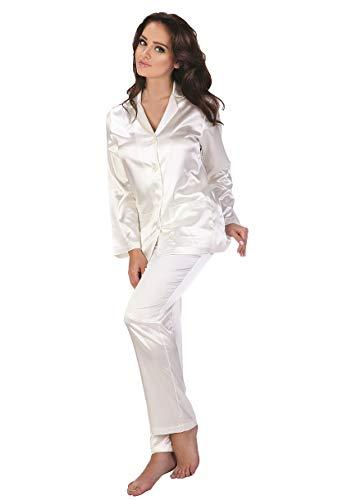 FOREX Lingerie eleganter Satin-Pyjama Schlafanzug Hausanzug im klassischen Still, perlmutt, Gr. XXL