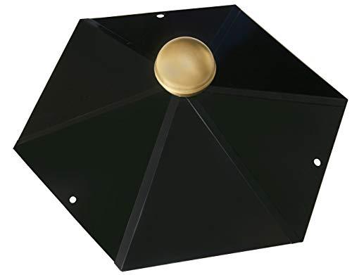 Pavillon-Haube 6-Eck mit Messingkugel, Firsthaube schwarz glänzend
