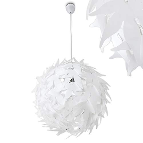 Extravagante Hängeleuchte in Weiß – Designer Deckenspot Dokkas aus Metall – Wohnzimmer Deckenlampe sehr auffällig – geeignet für LED – Schlafzimmer Leuchte – runde Zimmerlampe LED fähig