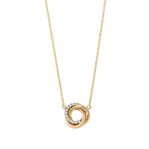 jouailla–Halskette aus goldenen 375/1000e Gliederkette mit drei runde, ein gelb, ein rosa und ein weiß mit Schlangenkette (397098)