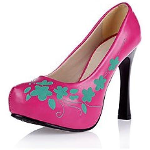 Mujer-Tacón Stiletto-Plataforma / Confort-Tacones-Boda / Vestido / Fiesta y Noche-PU-Negro / Amarillo / Rosa / Blanco