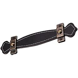 Baoblaze Perilla de Tirador de Gabinete Cajón Armario Extracción de Mueble de Cuero y Aleación - # 2 Negro