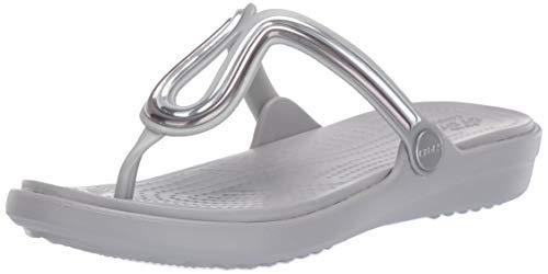 crocs Damen Sanrah Metalblock Flat Flip W Peeptoe Sandalen, Silber (Multi Metal/Silver 98q), 41/42 EU -