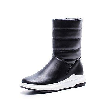 RTRY Scarpe Donna Similpelle Fall Winter Snow Boots Fashion Stivali Stivali Piattaforma Punta Tonda Mid-Calf Scarponi Per Outdoor Casual Rosso Bianco Nero US8.5 / EU39 / UK6.5 / CN40
