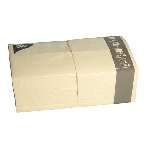 Papstar Servietten / Tissueservietten creme (250 Stück) 3-lagig, 1/8-Falz, 33 x 33 cm, Vorratspackung für Haushalt, Gastronomie oder Feste, in der großen 250er Packung, #84579 Bistro Creme