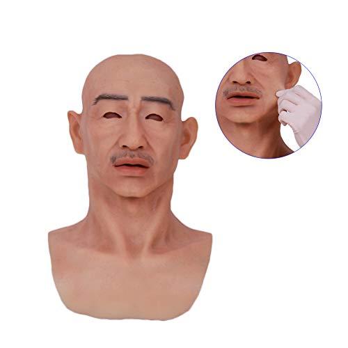 WANGXN Crossdressing Realist Old Man Maske Silicone Full Head für Masquerade Crossdresser Kostümpfade Kostüm-Party Latex Head Masken Face (Full Face Maske Kostüm)
