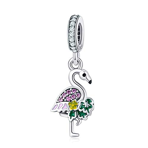 HSUMING Flamingo Anhänger 925 Sterling Silber DIY Schmuck Tier Halskette Anhänger für Mädchen, Geschenk für Frauen