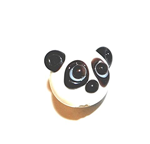 Markylis - x5 Handmade Lampwork Glass Animal Pendant / Jewellery Craft Beads - Panda Head