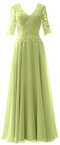 MACloth Elegant Half Sleeves Mother of Bride Dress V Neck Evening Formal Gown Pistachio