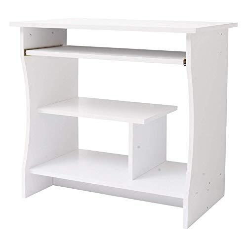 Rebecca Mobili RE4945 Bureau pour Chambre d'étude, Table Porte-Ordinateur avec étagère coulissante, Bois Blanc, Maison de Bureau, 73 x 80 x 48 cm