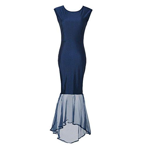 D9Q Frauen reizvolles dünnes elegantes Sleeveless Abschlussball Abend Cocktailparty langes Kleid Blau