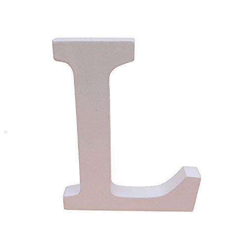 asdomo Woodcraft weiß Holz Buchstaben 15cm Alphabet Hochzeit Geburtstag Party Home Kinderzimmer Wandtattoo Dekorationen, holz, L, 15 cm