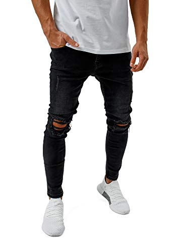 Burocs Herren Destroyed Jeans Slim Fit Skinny Stretch Denim Schwarz BR1512, Farbe:Schwarz, Hosengröße:W32 L32