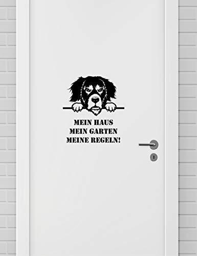 Blingelingshirts Haustür Aufkleber Berner Sennenhund Mein Haus Mein Garten Meine Regeln schwarz für Wand Fenster Wandaufkleber Wandtattoo Aufkleber Tür schwarz -