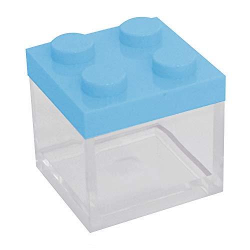 Omada design scatolina portaconfetti in plexiglass, 24 pezzi, tipo mattoncino formato 5 x 5 x 5 cm, bomboniere trasparenti, idea regalo per cerimonie, coperchio celeste