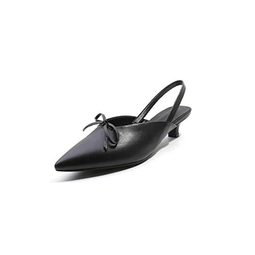 EARIAL& 2018 Pointed Toe Bowknot Sandals Women Genuine Leather Elastic Band med Heels Shoes Casual Shoes Size 34-42 Black 3 (Med-maps)