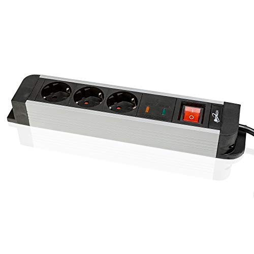 Safe2Home® Hochwertiger Mehrfachstecker/Steckerleiste mit Überspannungsschutz Steckdosenleiste 3-Fach- Schützt Ihre netzbetriebenen Geräte vor Überspannung und Blitzeinschlag