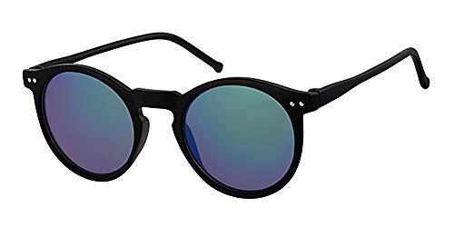Kinder, Kinder, 5-8Jahre, rund Kunststoff Sonnenbrille, mit gratis gelb neckcord, blau verspiegelte Gläser