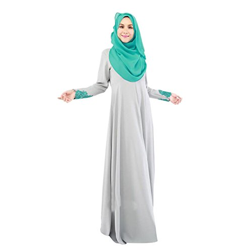 Haodasi Femme Kaftan Abaya Dress Musulman Islam Dentelle Manche longue Maxi Dress Vêtements Robes gray