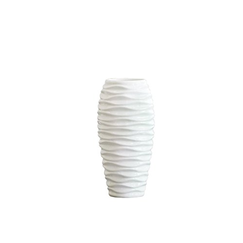 Vases LXF en céramique Blanc ondulé Moderne Minimaliste Salon décoration Table à Manger Bureau Table Basse décorations (Size : B-16 * 30cm)