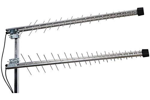 ISKRA Antenne 4G LTE 5G + Wi-Fi Log Yagi Mimo 11dBi 700/800/900/1800/2100/2400/2600 MHz LowcostMobile 2 x 0,10 m Duo SMA Kabel Schwarz 800-mhz-yagi-antenne