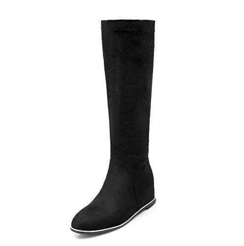 AgooLar Damen Blend-Materialien Rund Zehe Rein Knie Hohe Mittler Absatz Stiefel Schwarz