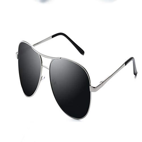 YDOMY 2019 Neue Sonnenbrillen Herrenbrillen Sonnenbrillen Flut Menschen Polarisierte Linsen Fahren Fahren Spezielle Fahrer Flut Großes Gesicht Silber Rahmen Schwarz Grau Stück