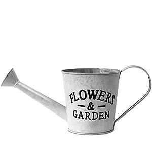 Deko Gießkanne Flowers & Garden 37x14,5xH15cm Metall Grau - Blechkanne Gießkanne Dekokanne