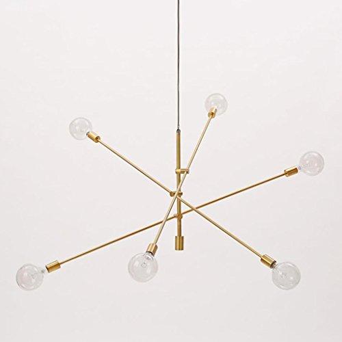 Shuang Moderne Kronleuchter Beleuchtung Black & Gold Finish 6 Lichter Deckenleuchter Hängelampe 266 (Farbe : Metallic)